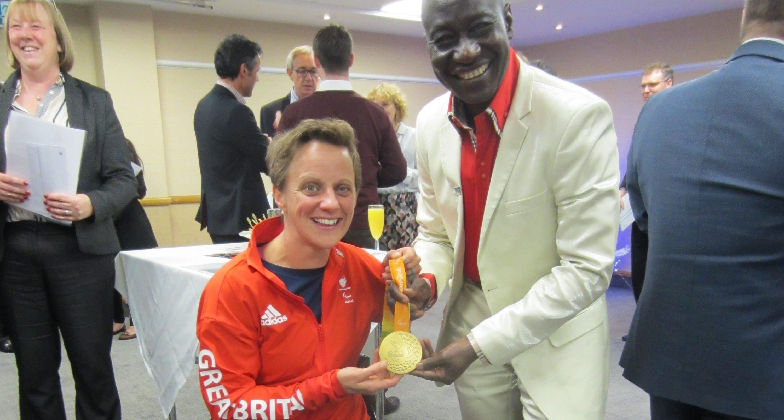 SEM's Maxwell Ayamba meets gold medal winning paralympian Emma Wiggs at a special event hosted by The International Sports Federation for Persons with Intellectual Disability (INAS).