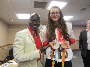 SEM's Maxwell Ayamba meets multi-medal winning paralympian essica-Jane Applegate MBE at a special event hosted by The International Sports Federation for Persons with Intellectual Disability (INAS).