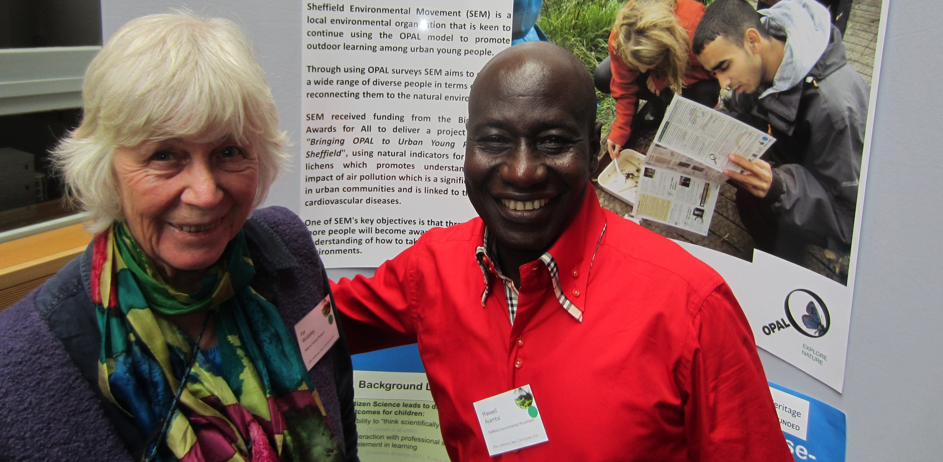 SEM's Maxwell Ayamba meets Pat Wolseley – Lichen Expert at The OPAL National Conference